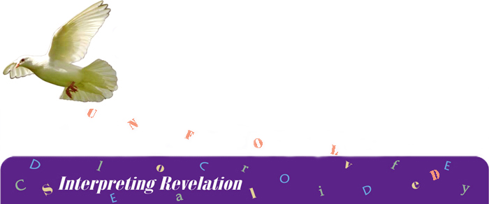"A white dove flies over the header ""Interpreting revelation"" dropping the letters of 'unfold' into the purple surround. Other words jumbled in the header are clarify, decode, and solve."