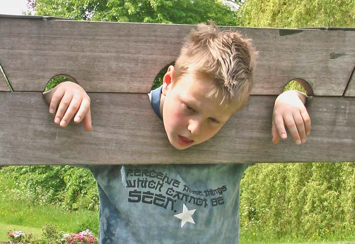 My son Tim hamming it up in the stocks with a desperate 'not another tomato' look on his face! The t-shirt reads 'Perceive those things which cannot be seen'
