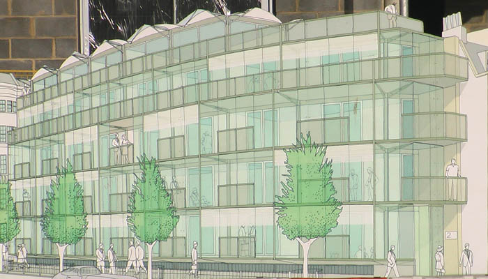 An architect's drawing of what a building will look like