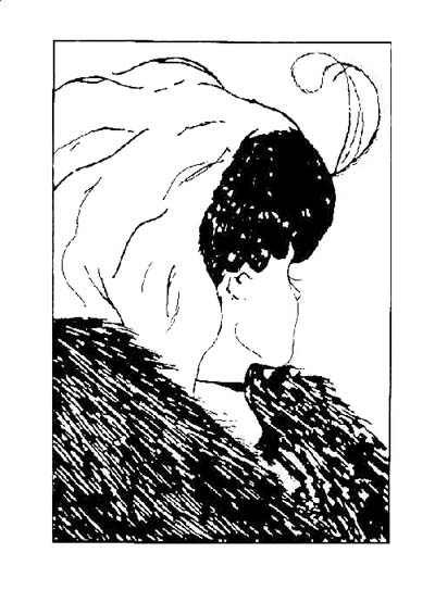 'Leeper's ambiguous lady' a black and white drawing of a two people in one image - the jawline of a pretty young woman looking to the rear of the image forms the nose of the ugly old woman.