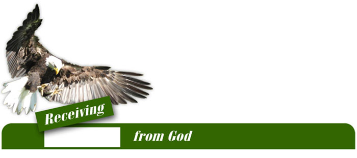 "A bald eagle dropping the word 'receiving' into the header ""Receiving from God"""