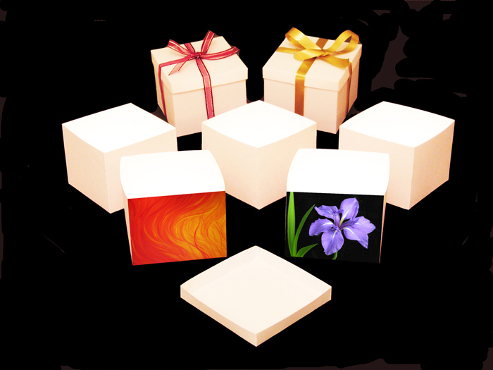 A series of open boxes with light eminating from them