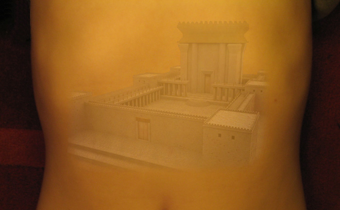 Photo of a torso with the Old Testament  temple superimposed on it